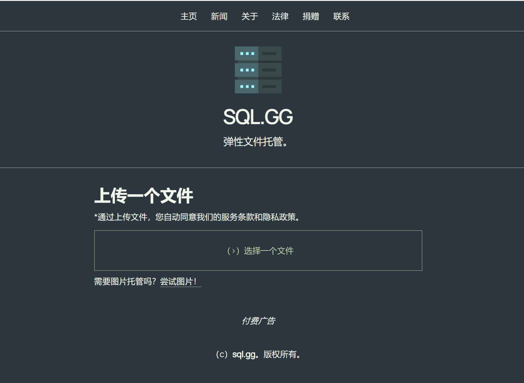SQL.GG网盘,弹性文件托管,一个匿名的小众网盘